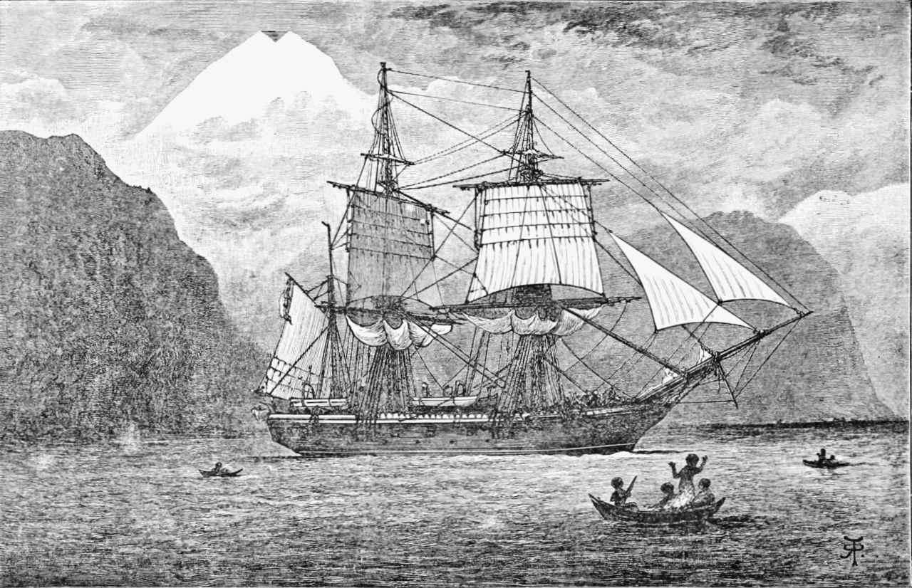 The HMS Beagle in the Straits of Magellan.