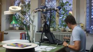 Ben Rennison calibrating the Breuckmann smartSCAN3D-HE