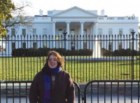 Emeline Wolff in front of White House.