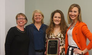 Orientation Intern of the year recipient, Rebecca Drewry with CofC staff.  from left to right: Stephanie Auwaerter, Orientation Director, Mindy Miley,  Asst. VP, Educational Programs and Services, Rebecca Drewry, intern of the year, and Karee White, Asst. Director New Student Programs.