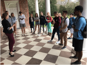 Students in exterior courtyard at Drayton Hall