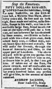 Newspaper ad for runaway slave