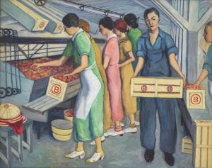 Painting of women sorting peaches