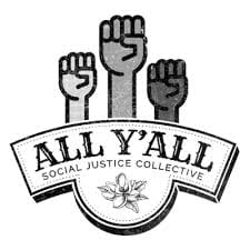 All Y'all Social Justice Collective logo of 3 raised fists