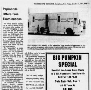 Newclipping from 1975 announcing Papmobile