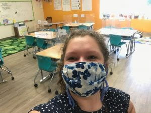 Stella Rounsefell wearing mask in classroom