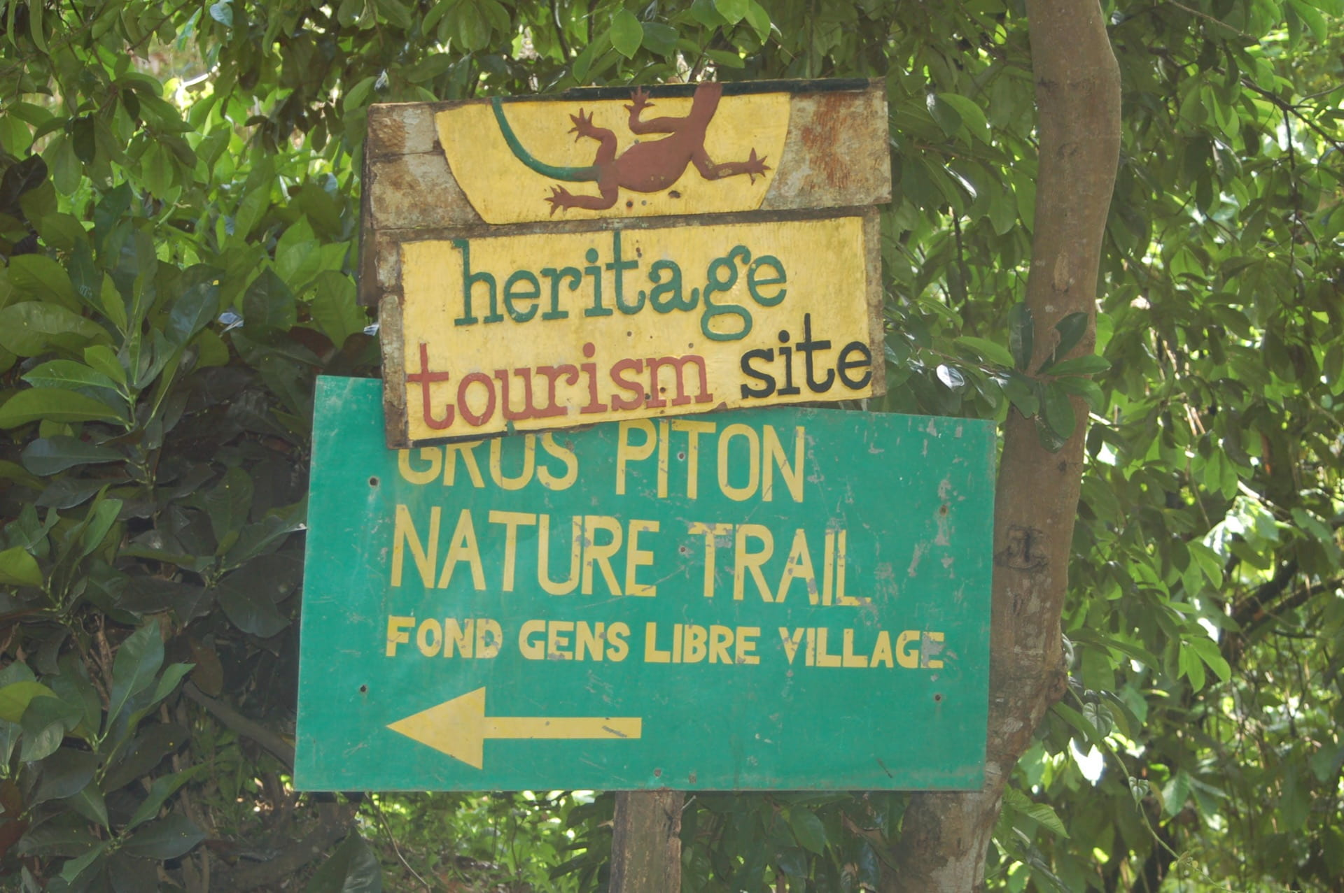A sign in the jungles of St. Lucia, pointing to the village of Fond Gens Libre