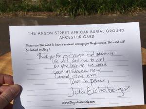handwritten message to the ancestors from Julia Eichelberger