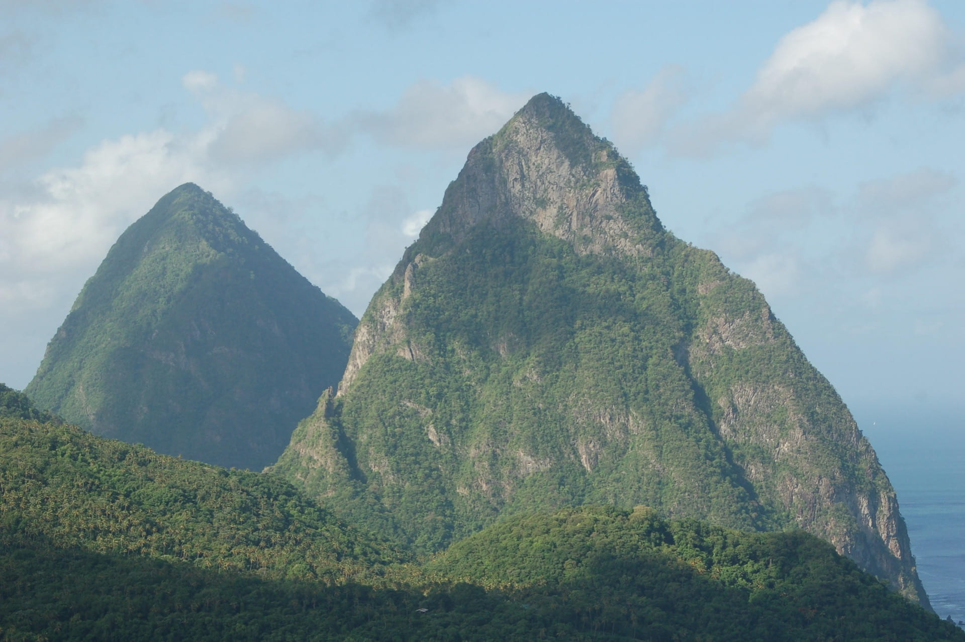 Piton Mountain peaks on St. Lucia