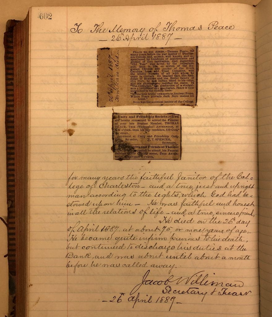 A page with newspaper clippings and handwritten text announcing the death of Tom Peace