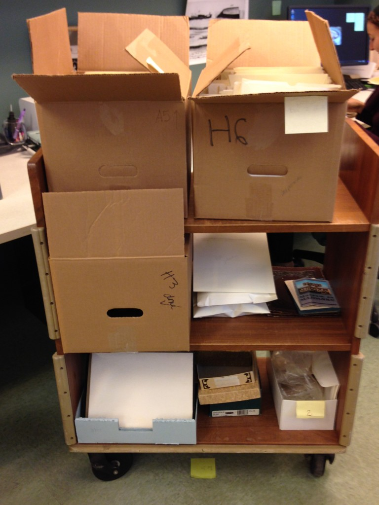 Original boxes in which we found postcards from the Rosenthall Collection.
