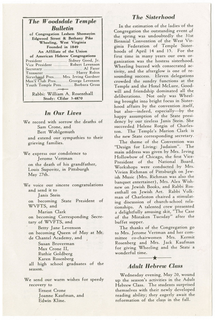 June 1959 Woodsdale Temple Bulletin