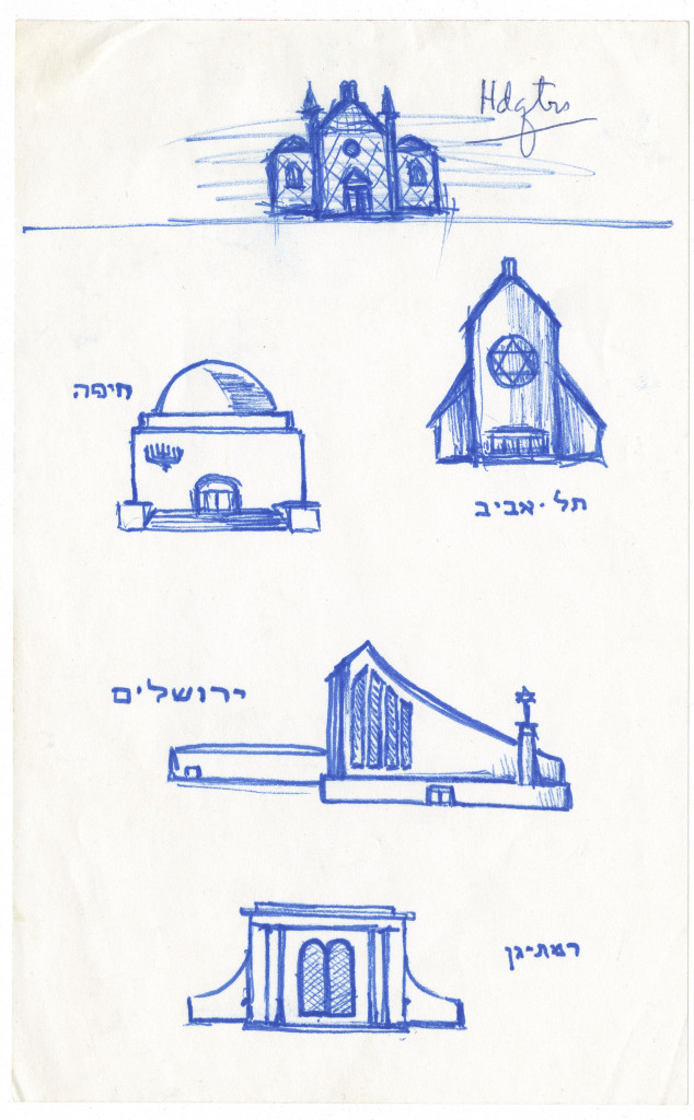 Sketch of synagogues by Rosenthall.