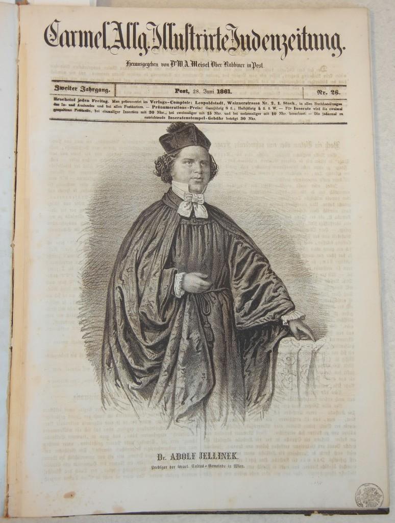 Last issue of the Allgemeine Illustrirte Judenzeitung, published June 28, 1861, featuring Rabbi Adolf Jellinek.