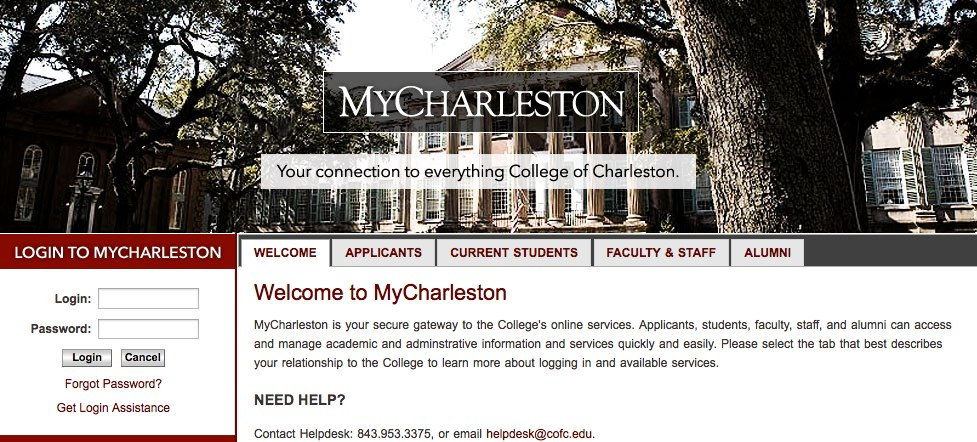 My Charleston website image