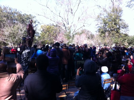 Unveiling of Denmark Vesey Monument in Hampton Park, image by Mary Battle, February 2014, Charleston, South Carolina.