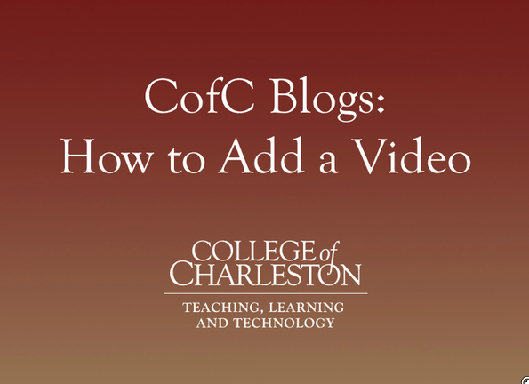 Blogging with CofC Blogs: Adding a video to a blog post