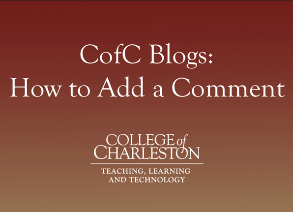 Blogging with CofC Blogs: How to Add a Comment