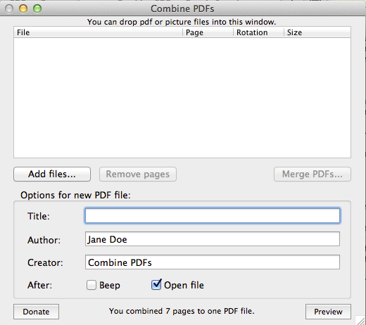 Merging Multiple PDFs into One File on a Mac