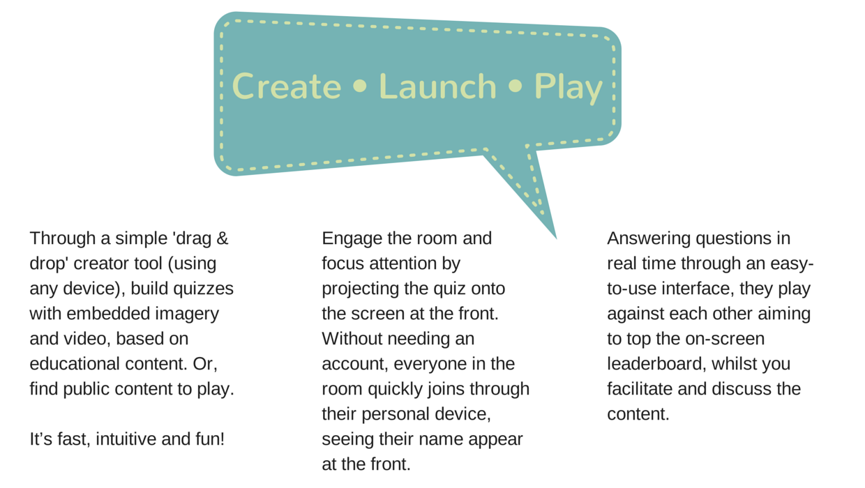create, launch, play