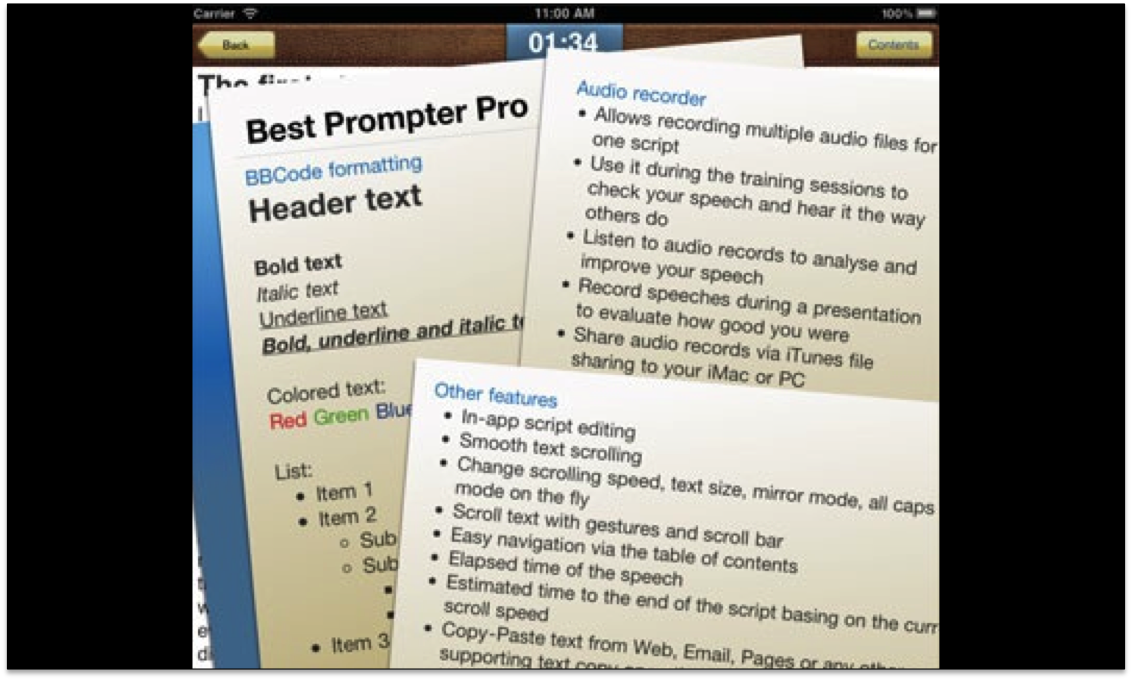 Best Prompter Pro Teleprompter Software for the iPad
