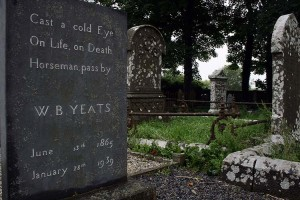Yeats' tombstone at Drumcliffe Church, under the shadow of Benbulben.