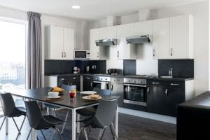Kitchen/living shared by suite