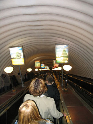 Going down into the metro