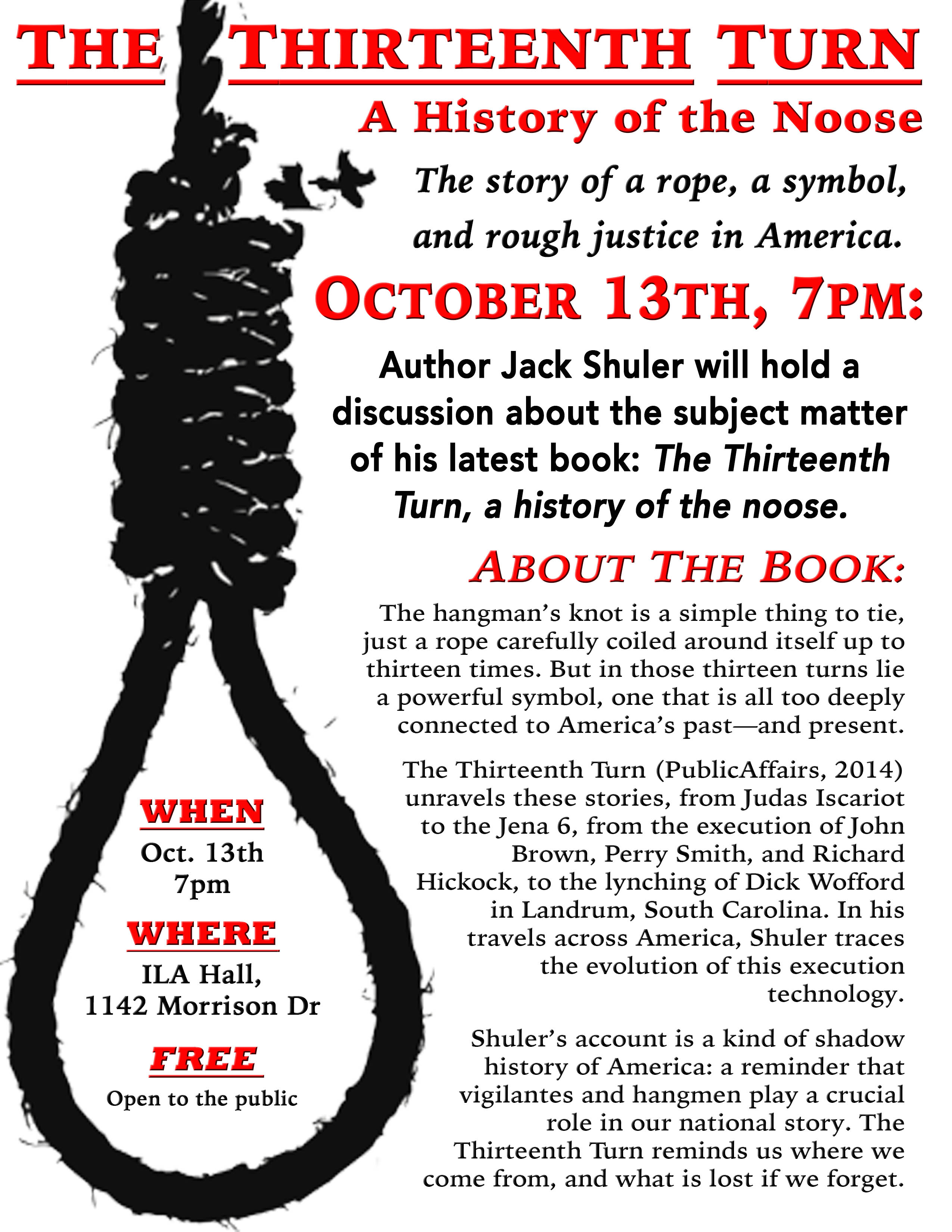 Department Of History A History Of The Noose Today At 7pm