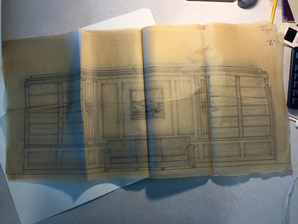 Interior renovation pencil sketch, undated 1930