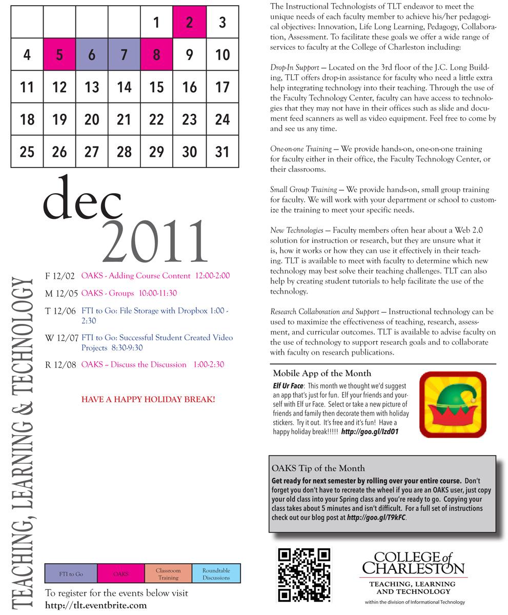 TLT Training Calendar for December
