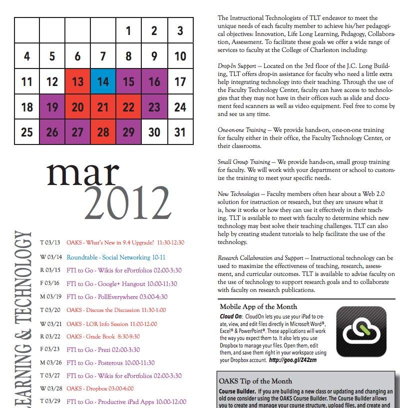 March Training Calendar