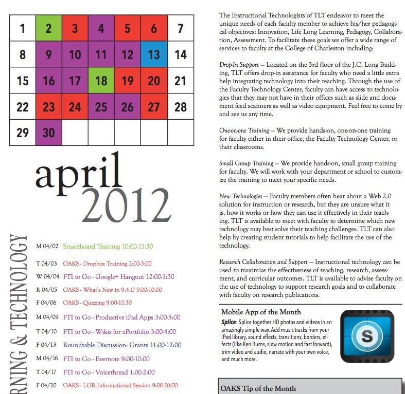 April Training Calendar