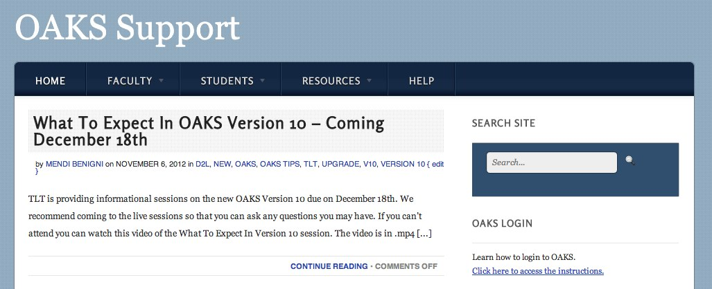 Check out the OAKS Support Blog