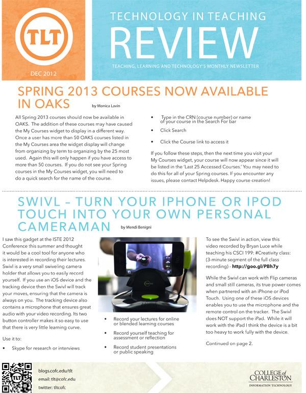 December 2012 Newsletter