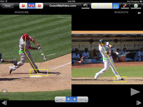 side by side comparison of baseball players annotated for technique