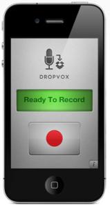 screenshot of the recording app Dropvox