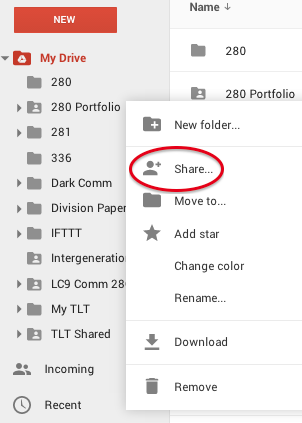 Share Folder Right Click Menu