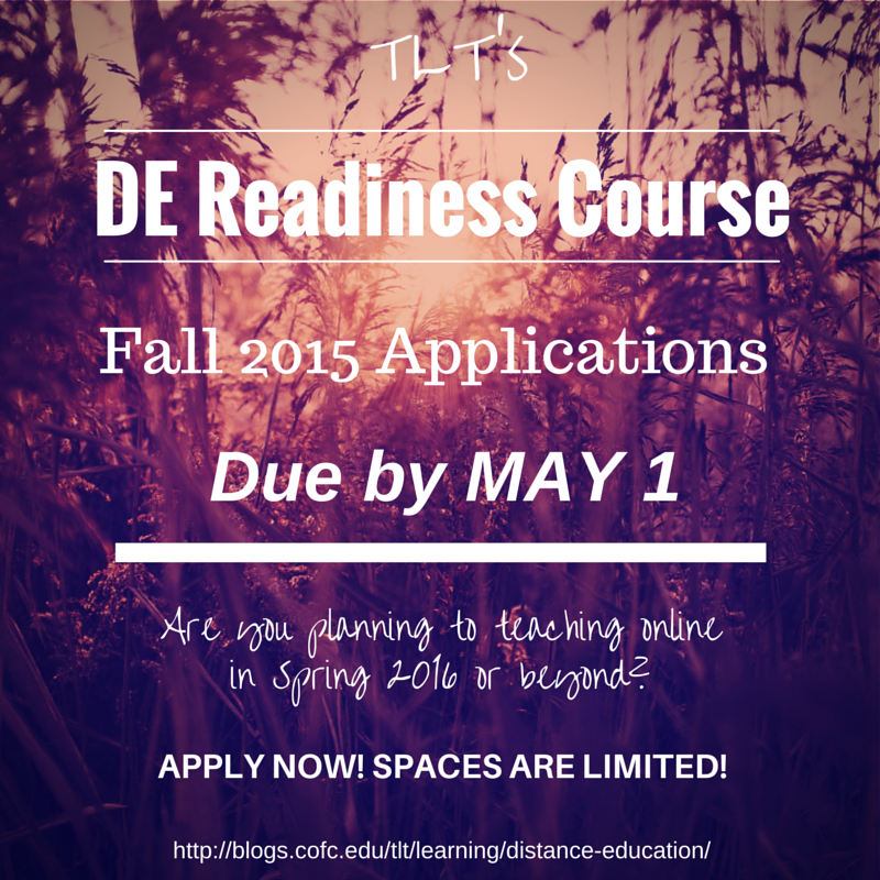 Fall Application Deadline for DE Readiness Course