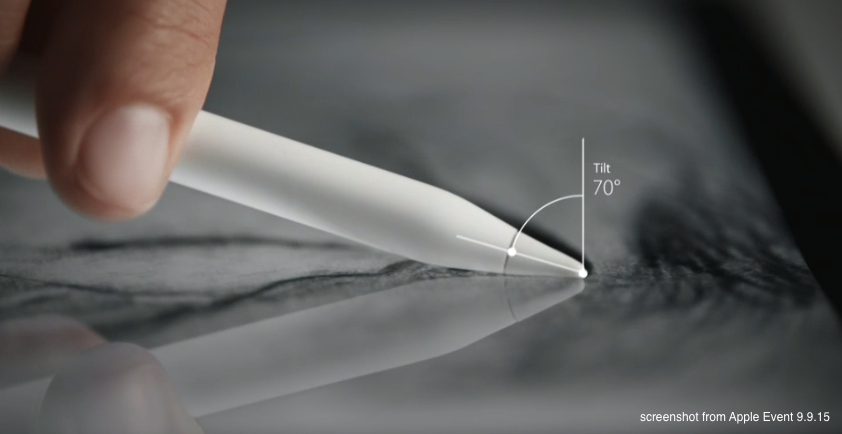 Apple Pencil tipped on its side