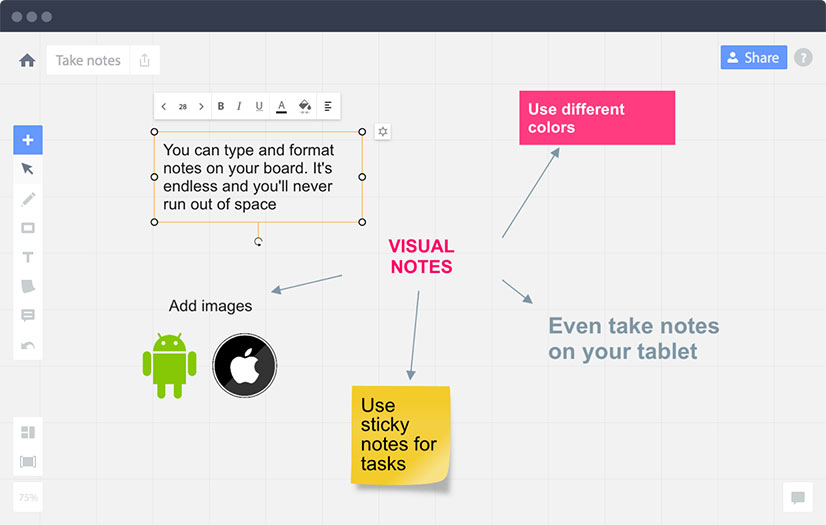 Real Time Board for collaborative planning, notetaking, and brainstorming
