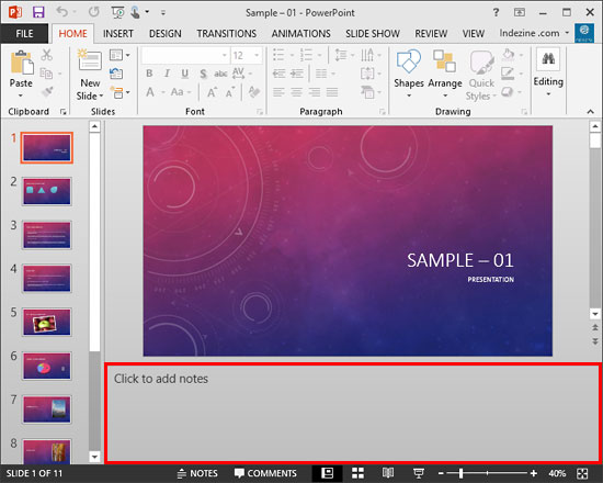 add notes to Powerpoint by clicking inside the notes area underneath each slide. This area can be expanded or collapsed.