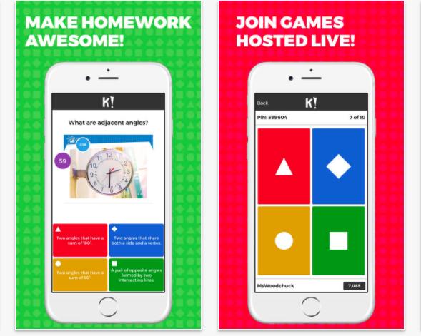 screenshots of the kahoot app