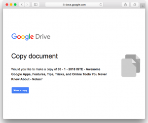 "copy document screen with blue ""make a copy"" button"