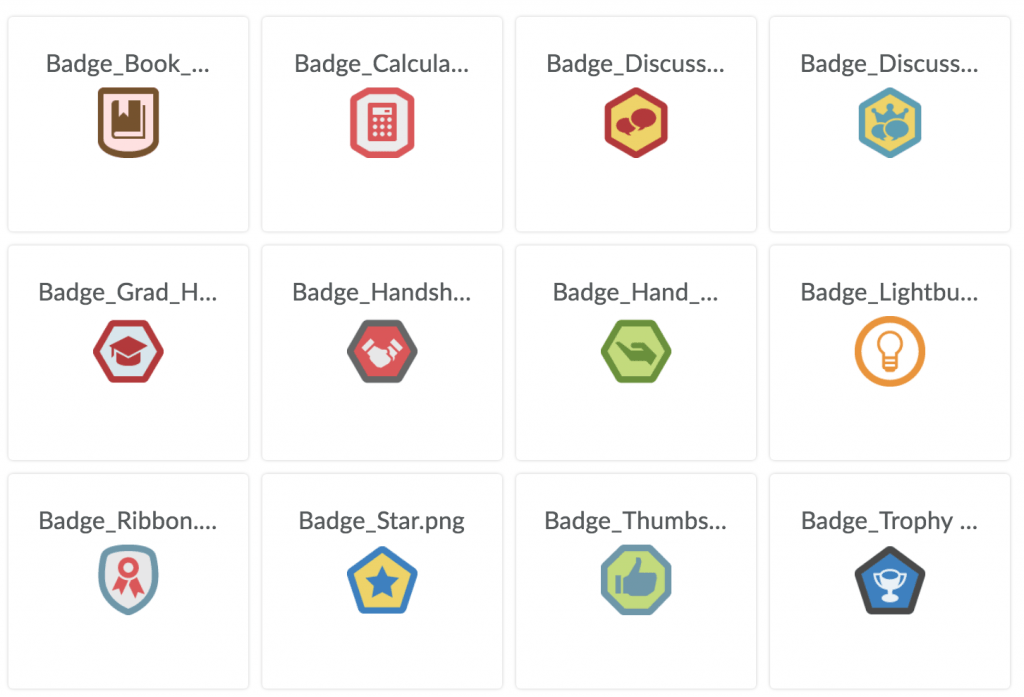 A variety of colorful digital badges you can earn