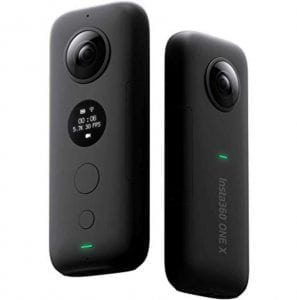 front and back view of a 360 camera