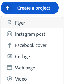 Create: flyer, instagram posts, facebook cover, collage, webpage