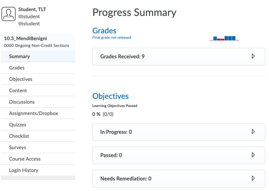Screenshot of View Progress Overview