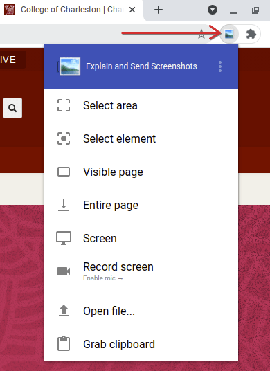 Explain and Send Screenshots Menu