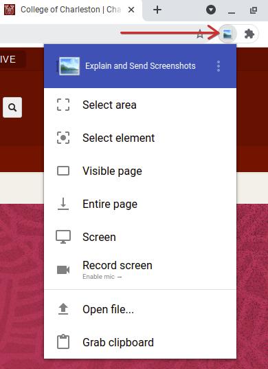 Explain and Send Screenshots Menu
